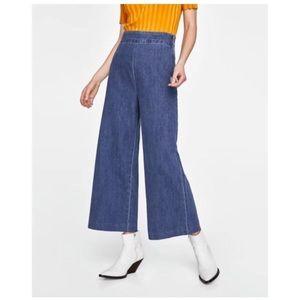 Zara Wide Leg High Waist Culottes Jeans